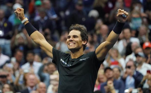 Nadal celebra su victoria. /Robert Deutsch-USA TODAY Sports