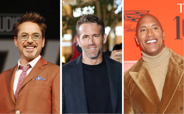 Los actores Robert Downey Jr., Ryan Reynolds y Dwayne Johnson./