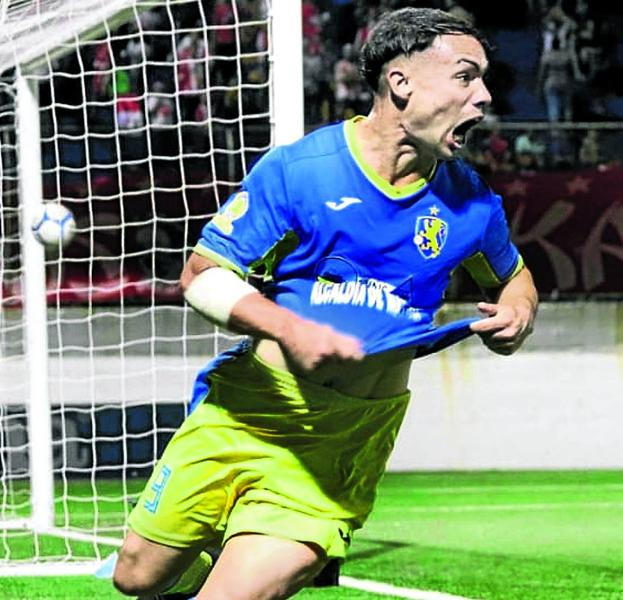 Pablo Gállego celebrates a goal with Managua, his club, which leads the ranking in Nicaragua.