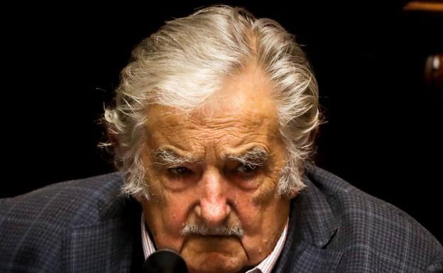 José Mujica, en su despedida ayer del Senado. /