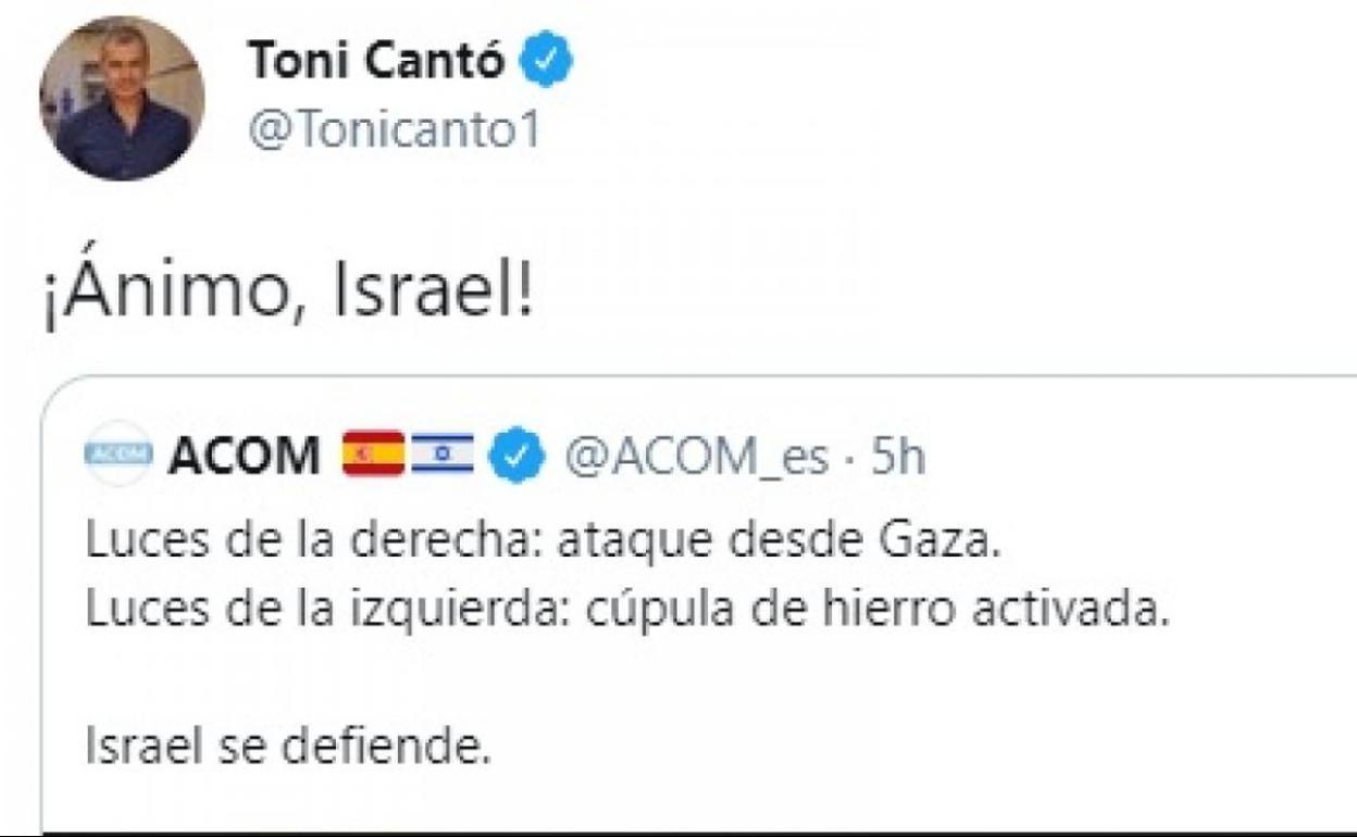 El polémico tuit de Toni Cantó en apoyo a Israel | El Correo
